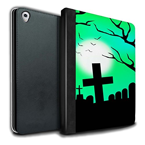 Stuff4® PU-Leder Hülle/Case/Brieftasche für Apple iPad Pro 9.7 Tablet/Unheimlich Friedhof Muster/Halloween Szene Kollektion