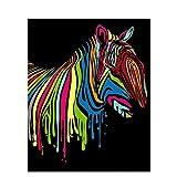 wwdfdd Pintura De Bricolaje Colorida De Cebra por Números Imagen De Arte De Pared Pintada A Mano Pintura Al Óleo para La Decoración Casera Arts (40X50Cm), Marco