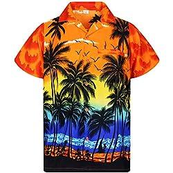 V.H.O. Funky Camisa Hawaiana, Beach, Naranja, XXL
