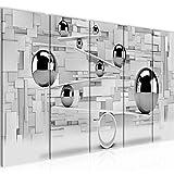Bilder 3D Kugeln Wandbild 150 x 60 cm Vlies - Leinwand Bild XXL Format Wandbilder Wohnzimmer Wohnung Deko Kunstdrucke Grau 5 Teilig - MADE IN GERMANY - Fertig zum Aufhängen 504356c