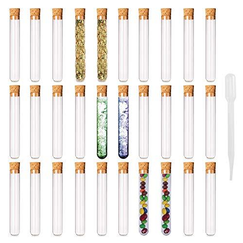 ETSAMOR 31 Stück Kunststoff Reagenzglas mit Korken 7.5ML Reagenzröhrche für Süßigkeiten Perlen Schmuck Handwerk Sammlung liebesGeschenk 12 * 100 MM -