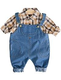 d76c118e8 ARAUS Ropa Niños Camisa de Cuadros + Vaquero Conjuntos Bebé 2 Piezas  Pantalones de Petos Primavera