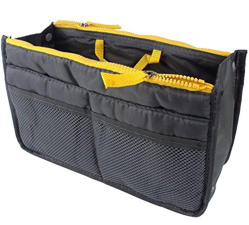 Ducomi® Handtaschen-Organizer mit 13 großen Taschen: Dokumente, Telefon, Make-up, Schlüssel an Ihren Fingerspitzen (Green) Gray