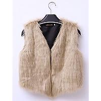 xuanku la mujer 'S PLUS Size Street Chic Fell coatsolid Cuello V Sin Mangas Otoño Invierno//Negro/Gris Marrón/Amarillo (imitación de pelo espeso, color amarillo, tamaño xx-large