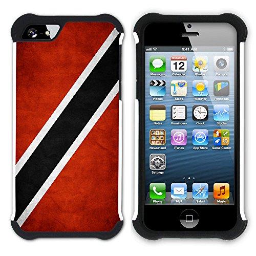 Graphic4You Vintage Uralt Flagge Von Haiti Haitianisch Design Hart + Weiche Kratzfeste Hülle Case Schale Tasche Schutzhülle für Apple iPhone SE / 5 / 5S Trinidad