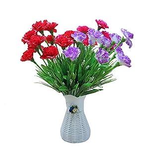 YaoLian 10 Cabezas de Seda Flores Artificiales Claveles Gypsophila Flores Falsas Día de la Madre Regalos para el Maestro…