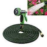 ZDYLM-Y Flexibler Gartenschlauch, 7 Funktion Spray-Schlauch-Düse, Premium-No-Kink Flexibler Wasserschlauch, für Bewässerung/Waschen,100FT
