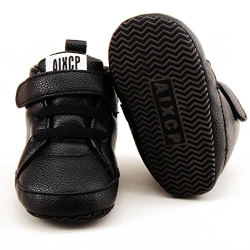 Chaussures bébé,Xinan Chaussures Garçon Fille Cuir Souple Automne (Noir, 0-6M)