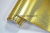 8,5€/m² Auto Folie - Carbon Chrom GOLD - 30 x 152 cm BLASENFREI selbstklebend flexibel Car Wrapping