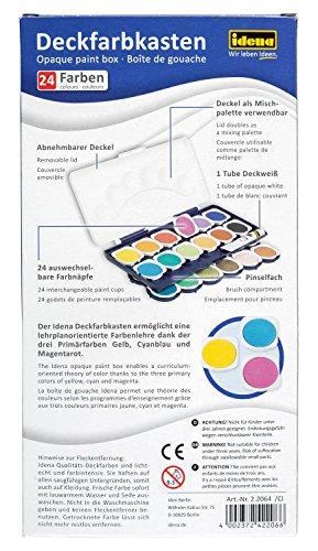 Idena 22064 - Deckfarbkasten mit 24 Farben und 1 Tube Deckweiß - 2