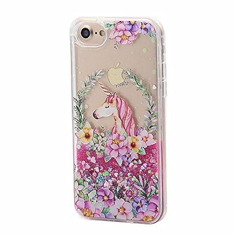 iPhone 7 / 8 Plus Liquide Coque pour Filles, Keyihan Mignonne Style Rose Conception Sables Mouvants Paillettes Plastique dur Housse Étui Avec bord de TPU doux pour Apple iPhone 7 / 8 Plus (Licorne et Fleur 1#)