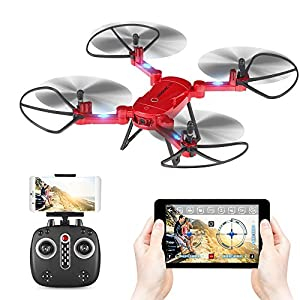 GoolRC RC Drone with Camera T32 Wifi 720P HD Camera 2.4G 4CH 6-Axis Gyro Foldable RC Drone with Height Hold Function Selfie Drone (First Person View)