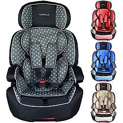XOMAX XL-518 Siège auto pour enfant avec ISOFIX I 9-36 kg, 1-12 ans, groupe 1/2/3 I Harnais 5 points et 3 points I housse amovible et lavable I ECE R44/04 I gris/noir