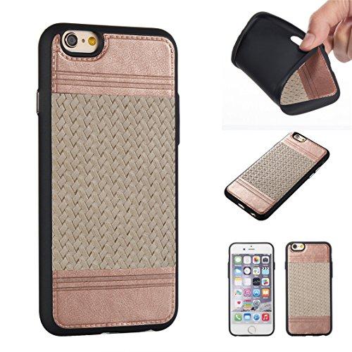Apple iPhone 6/6S 4.7 hülle, Voguecase Schutzhülle / Case / Cover / Hülle / TPU+PU Gel Skin Mit Knopf (Weben Muster/Schwarz und Pink) + Gratis Universal Eingabestift Weben Muster/Rose Gold und Grau