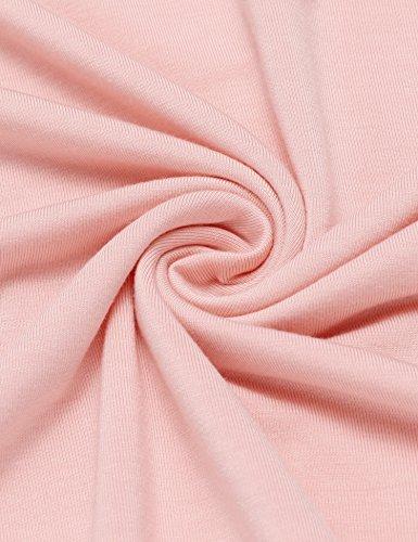 Ekouaer Damen Gemütlich Nachthemd kurzarm Sleepshirt Knielang Nachtwäsche Negligee Rosa901