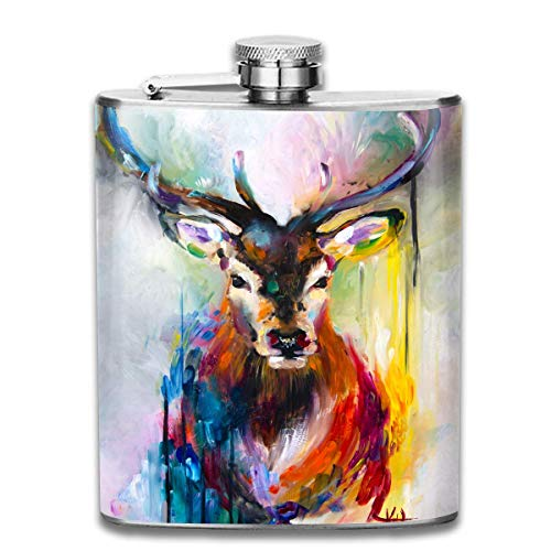 FGRYGF Edelstahlflasche Fantasy Deer Oil Painting Fashion Portable Stainless Steel Flachmann Whiskey Bottle for Men and Women 7 Oz -