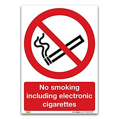 No smoking including electronic cigarettes Sign - 1mm Rigid Plastic Sign - Prohibition Safety Information by stika.co