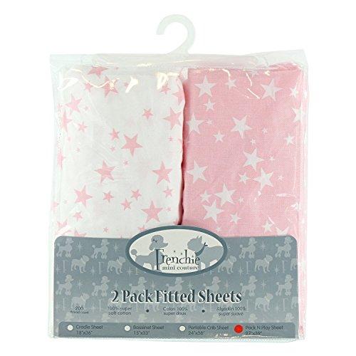 Paquete de 2 sábanas bajeras de moisés ajustables, diseño de estrellas azules, Frenchie Mini Couture...