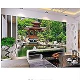 Qwerlp Moderne 3D Wallpaper Wände Neue Chinesische 2018 3D Wandbild Wallpaper Abstrakte Pavillon 3D Stereoscopic Murals Wallpaper-360Cmx270Cm
