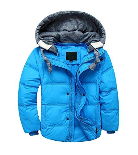YoungSoul Kinder Daunenjacken Winterjacke mit abnehmbarer Kapuze für Jungen Mädchen Kinderweste Daunenweste warm Herbstjacken Wintermantel Hellblau 8-9T/Körpergröße 130-140cm