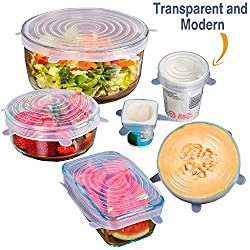 Stretch Lids, Lids for Bowls & Pots, Pack of 6 (Six), Multi Function, Flexible & Reusable, Oven-Freezer-Dishwasher Safe -- Kitchen Essentials from the House of INVOGUE RETAIL