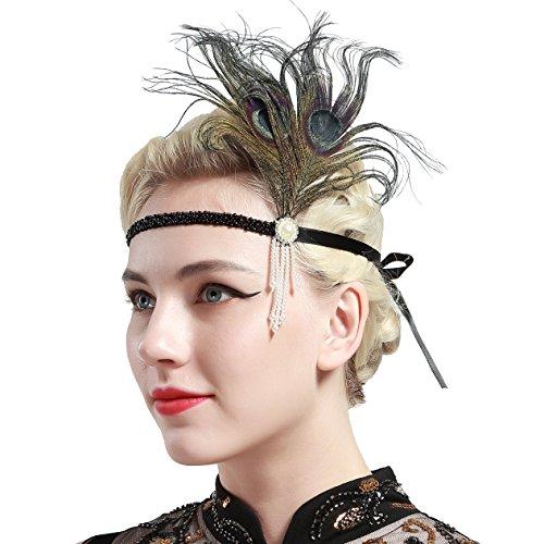 BABEYOND 1920s Stirnband Feder Flapper Stirnband mit Perlen Troddel 20er Jahre Haarband Große Gatsby Kostüm Accessoires Damen Retro Stirnband - 4