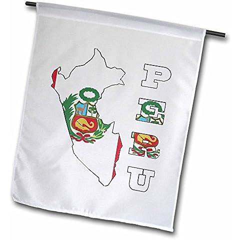3dRose fl _ 58708_ 1bandera peruana en esquema mapa y letras de Perú bandera de Jardín, 12por