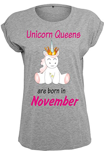 Damen Ladies Extended Shoulder Tee T-Shirt Sommershirt Damenshirt Einhorn Unicorn Queens are born (grau) November
