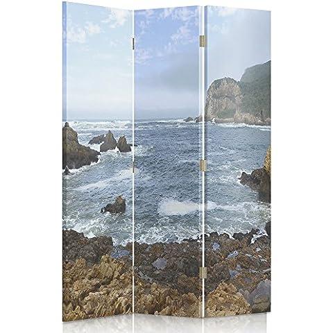 Feeby Frames Biombo impreso sobre lona, tabique decorativo para habitaciones, a una cara, de 3 piezas (110x150 cm), VISTA, PLAYA PEDREGOSA, MAR, MAR, AZUL, MARRÓN