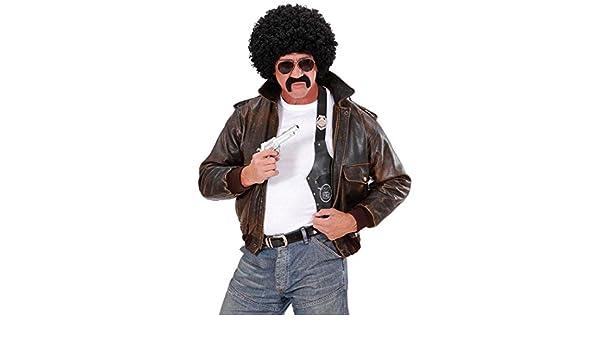 Set costume agente: parrucca con capelli ricci occhiali da sole e baffi
