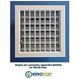 Idrotop Clima - Boquilla de ventilación de 20x 20cm con rejilla ajustable blanca con adaptador, 150 mm de diámetro