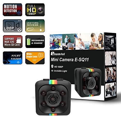 Mini Kamera Ehomful 1080P SQ11 HD DV-Recorder mit Nachtsicht Sports Kamera Video Recorder mit Infrarot Mini Kamera mit Bewegungserkennung (Clip-video-kamera)