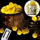 Indoor Led Fairy String lights - Liwiner 17FT 50 LED Battery Operated Globe String Light With Remote & Timer Control Christmas Decortive lights For Bedroom Curtain Outdoor Garden Tree XMax Patio Lawn Party and Holiday Decorations