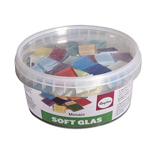 Rayher 14795999 Soft Glas-Mosaiksteine, bunte Mischung, Form quadratisch 2 x 2 cm, Dose 500g (ca. 140 St.), Glasmosaik - 2 X 2 Mosaik