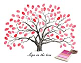 Fingerabdruck Gästebuch, Hochzeits-Fingerabdruck-Baum-Signatur Gästebuch Anmelden Bild mit 4 Stück Stempelkissen