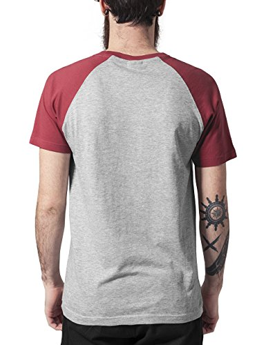 Urban Classics TB639 Herren T-Shirt Raglan Contrast Tee Mehrfarbig (Gry/Ruby 566)