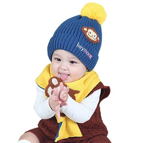 URSING Baby Jungen Mädchen Kinder Cartoon Affe Hut Mütze mit hochwertigem schlafendes Strick Mütze Hut + Komfortable Baumwolle Hals Schal 2pcs Kind stricken warme Hüte (Baby Affe Kostüm Beanie)