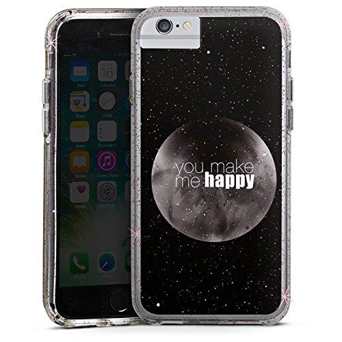 Apple iPhone 6s Plus Bumper Hülle Bumper Case Glitzer Hülle Happy Mond Moon Bumper Case Glitzer rose gold