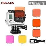 Holaca Tauchen Schaltbare Lens Filter Kit, incluing Rot, Magenta und Gelb Filter Set für GoPro Held 3+ Hero 4 HERO + und HERO + LCD-Kamera Zubehör & Hero 4 Session Kamera (For Gopro Hero 3+/4)