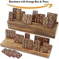 SKAVIJ Domino Set Double Six Professional mit Domino Racks (Trays) oder Haltern, handgefertigtes Mangoholz in antikem Finish, 28 Domino Fliesen mit Holzkiste