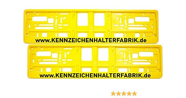 Satz 2 Stück Kennzeichenhalter Gelb Mit Individuellem Wunschtext PremiumqualitÄt Werbung Text Spruch Beschriftung Personalisiert Garten