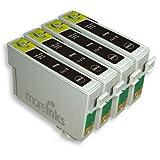 4 Cartouches d'encre Compatibles pour Imprimante Epson Stylus Office BX300F - Noir- Avec Puce