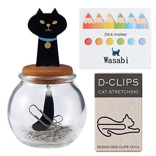 Schreibwaren-Set für Katzen. (DECOLE Miranda Katzenschwanz-Flasche - Calico Cat) & (Midori D-Clip Mini-Box, dehnende Katze) & Wasabi Haftnotiz schwarze katze Schwarz, Wasabi