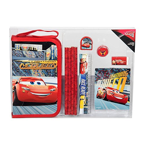 Cars 10 Piece Stationery Set Disney Pixar Pencil Case Ruler School Boys Girls