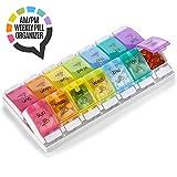 """""""7 Tage AM PM Pillendosierer - mit Druckknopf Öffnungshilfe Tages-Pillenbox Behälter Planer mit großen Trennfächern für Medikamente Vitamine Fischöl und Nahrungsergänzungsmittel, BPA-frei"""""""
