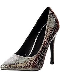 Partido De Onlineshoe Mujeres Mediados del Talón Acentuado Corte Zapatos -  Plata 2a2e1cc6787b
