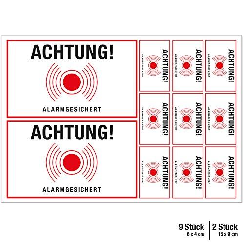 """Wandkings Aufkleber """"Achtung! Alarmgesichert"""" - 11 Aufkleber im Set - Wähle eine Farbe - Weiß"""