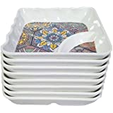 Decornt Appetizer Plate/Snack Plate/Chat Plate/Quarter Plate; Made Of Food-Grade Melamine; Square Shape; Length 5.7 Inches X Breadth 5.7 Inches; Set Of 8; White Color.