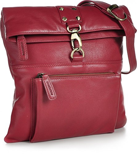 PHIL+SOPHIE, Cntmp, Damen Handtaschen, Umhängetaschen, Crossover-Bags, Crossbags, Schultertaschen, Leder, 26x27x2cm (B x H x T) Rot