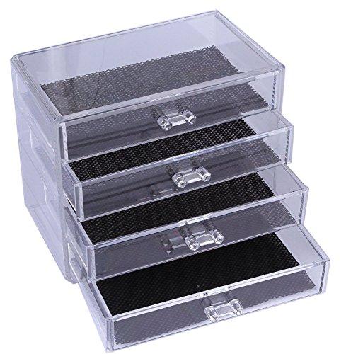 Kunst-schubladen (Feibrand Aufbewahrungs-Ständer , Acryl, transparent, 4 Schubladen ,für Kosmetik, Make-Up, Nagellack, Lack, Kunst und Kunsthandwerk, Pinsel-Sets und Schmuck)
